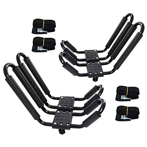 2 Pairs Kayak Rack J-Bar Car Roof Rack for Canoe Carrier SUP Paddle Surfboard Mount on Car SUV and Truck Crossbar, Includes 4 Pcs 8Ft Roof Rack Tie Down Cam Straps.