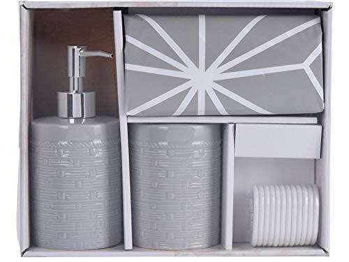"""3 teiliges Badezimmer Hygiene Set""""badrum"""" aus Keramik in modernem Design mit Seifenspender Zahnbürtsenhalter und Duschvorhang (Grau)"""