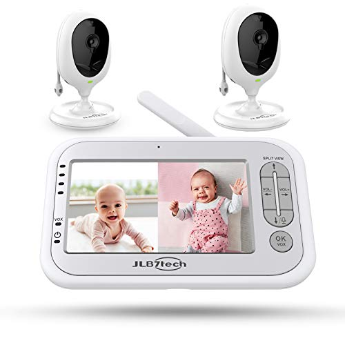 """Baby Monitor, JLB7tech 5"""" Split Screen,Video Baby Monitor with 2 Cameras and Audio,Night Vision,Two-Way Talk,Long Range,Feeding Time,Lullabies,Temperature Detection,Power Saving/Vox,Zoom in"""