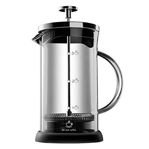 ALIXIN - 10022 Máquina de café de prensa francesa, filtro de micro malla para café o café molido, transparente de vidrio de borosilicato fuerte para té y café con bono. 【600 ml】