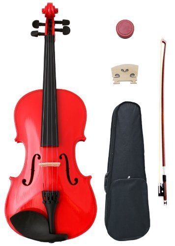 Crescent 1/4 Red Maple Wood Acoustic Violin with Case, Rosin, and Bow