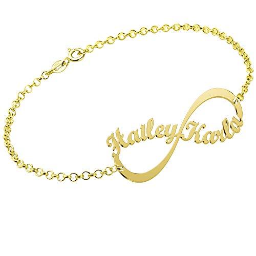 JoelleJewelryDesign Namensarmband Unendlichkeits Persönalisierte Armband/Fußband mit Namen 18K Gold vergoldet Silber Fashion Schmuck Geschenk für Freundin, Mutter, Schwester