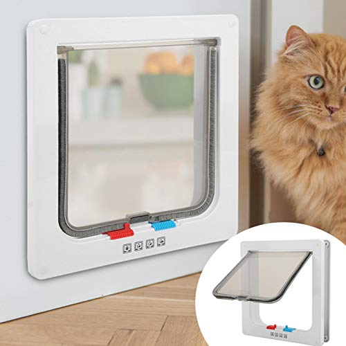 KUIDAMOS Transparente Kunststoff-Katzentüren für Katzenhunde(White, Large)