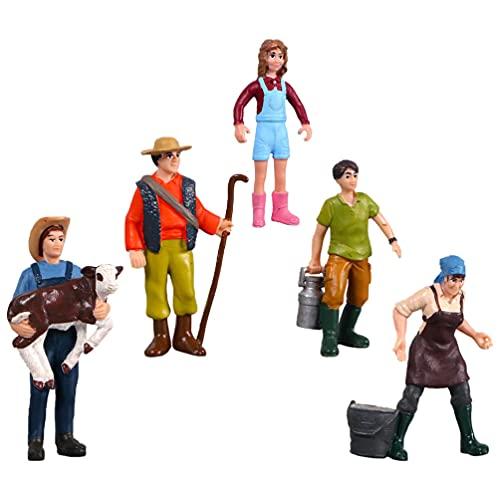 Toddmomy 5 Piezas Figuras de Granja Pintadas a Mano Figuras de Granja Personas Figuras de Plástico Modelo Personas Juguetes Juego para Niños Toldders Niños