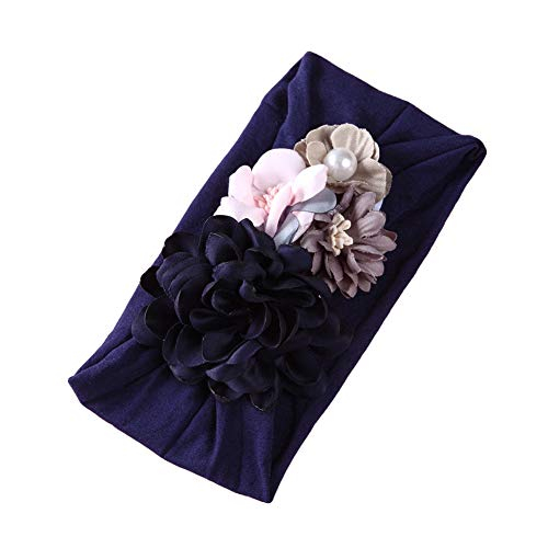 Sanwood Fashion Headwear 3D Fleur Faux Perle Large Bande De Cheveux Bandeau Doux pour Kid Fille Cadeau Navy Blue