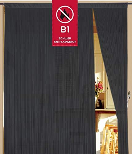 Kaikoon Fadenvorhang 90 cm x 240 cm grau in B1 schwer entflammbar