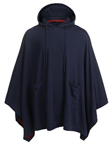 COOFANDY Men's Hoodie Lightweight Hooded Sweatshirt Casual Long Length Poncho Cape Cloak Cotton Blend Pullover Navy Blue
