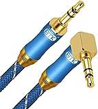 AUX Cable de 90 Drados Diseño 3.5mm Cable Jack Macho Macho Compatible con Tablets,Auricular, Altavoz,Audio de Coche,iPod,TV,MP3/4,PC,Xbox,Samsung,Huawei,Sony Azul/0.5M