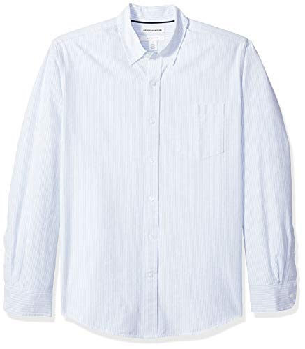 Amazon Essentials Regular-Fit Long-Sleeve Stripe Pocket Oxford Camicia, (Blue Blu), US S (EU S)