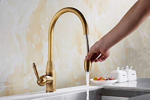 Kai&Guo Rubinetto da Cucina Rubinetto da Cucina in Ottone Anticato in Ottone Anticato, Miscelatore per lavabo con doccetta Estraibile, Bronzo Antico