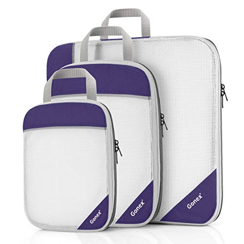 Gonex Compression Packing Cubes Mesh Travel Luggage Packing Organizers Zip Bags (L+M+S,Purple)