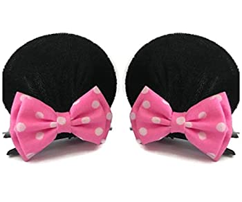 Mice Mickey Mouse Minnie Mouse Ears Clips Red Pink Polka Dots Double Bows Hairstylish Costume Party  M23  MN 2 Bows