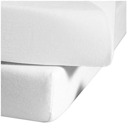 fleuresse Jenny C klassisches Jersey-Spannlaken, 100% Baumwolle, mit praktischem Rundumgummi, Fb. Weiß, Größe 100 x 200 cm, auch passend für 90 x 190/200