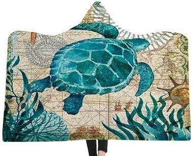 "SDIII Turtle Wearable Blanket Aqua Turquoise Ocean Beach Themed Hawaiian Nature Style Fleece Sherpa Hood Bed Throw (Twin(60"""