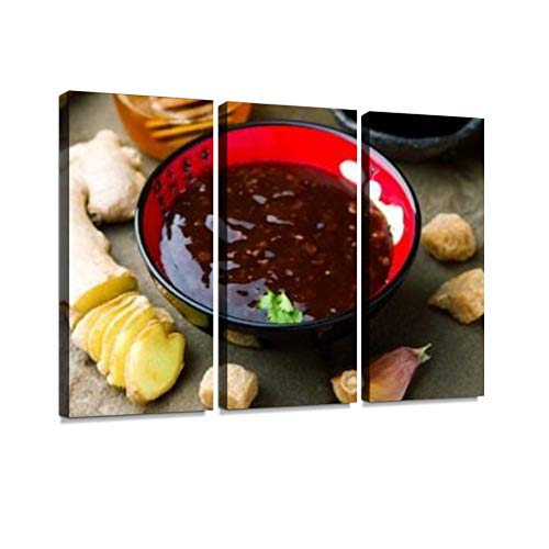 HABEN ARTWORK Teriyaki Traditional Japanese Sauce Selective Focus Print On Canvas Wall Artwork Modern Photography Home Decor Unique Pattern Stretched and Framed 3 Piece