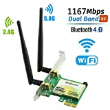 WiFi Card, Ziyituod Wireless AC 1200Mbps with Bluetooth 4.0 Adapter, PCI Express (PCIe)