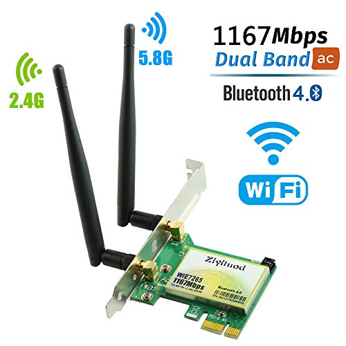 Ziyituod WiFi-Karte, Wireless AC 1200 Mbit/s mit Bluetooth 4.0-Adapter, PCI Express (PCIe) WiFi-Netzwerkkarte Dual Band (2,4 GHz oder 5 GHz) PCI-e-Karte für den Desktop