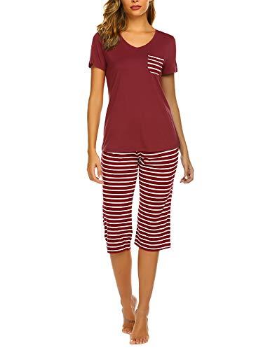 Unibelle Damen Schlafanzug Kurz Sommer Pyjama Kurze Ärmel Pyjamahose Nachtwäsche Hausanzug Kurzarm Sleepwear