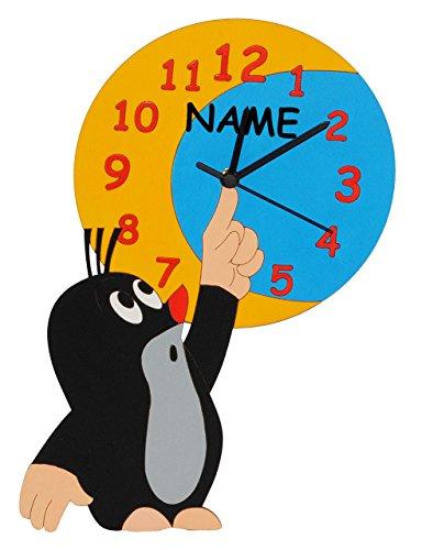 alles-meine.de GmbH Wanduhr - Fast lautlos - der kleine Maulwurf - Pauli -, Mond - incl. Name - Uhr aus Holz - für Kinderzimmer Kinderuhr Uhren Quarz Maulwürfe / Jungen Mädchen K..