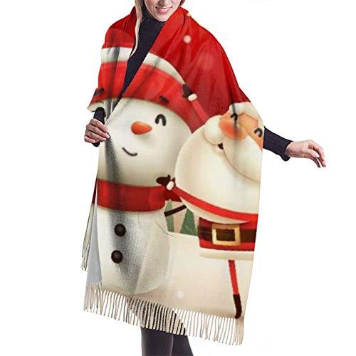 Jingliwang Schals Wickelschal Warm Women Blanket Scarf Santa Claus Snowman Winter Landscape Christmas Stylish Blanket Oversized Cozy Scarf Wrap Shawl