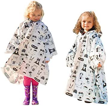 Kids Rain Poncho with Hood 2 Pack Thicker Waterproof Reusable Ponchos for Emergency Survival product image