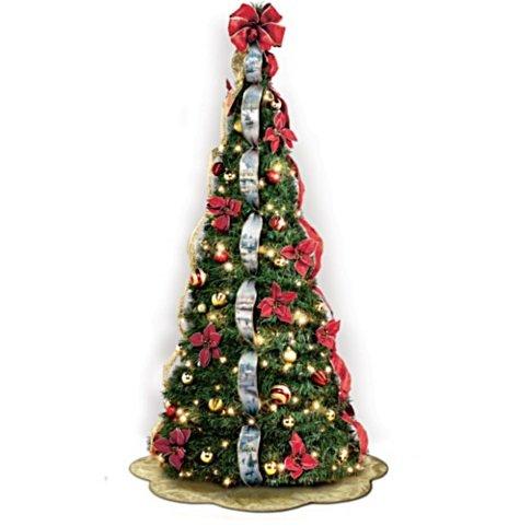 The Bradford Exchange Thomas Kinkade Christmas Tree - Pre-Lit Pull Up - with Poinsettia and Ribbon Decoration - 6'