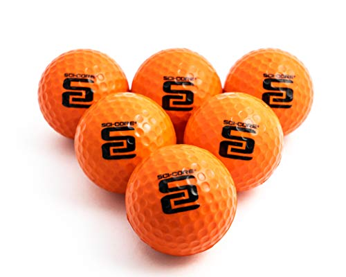 SCI-CORE Practice Golf Balls for Kids & Adults - Real-Feel Training Golf Balls - Outdoor & Indoor Golf Practice Balls - Standard Sized (6 Pack)
