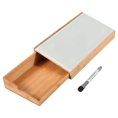 "Nøk and Cranny Desktop Glass Dry Erase Whiteboard Computer Pad with Bamboo Storage Drawer, 12""x6"", for Home or Office, to Do List Notepad"