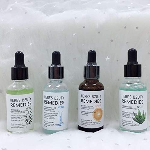 HERES B2UTY 30ml Natural Face Serum Aloe Essence Moisturising Vitamin C Vitamin E Tea Tree Oil Contractive Hyaluronic Acid Moisturising and Hydrating Pore Spots (Comb 75-80-85-90)
