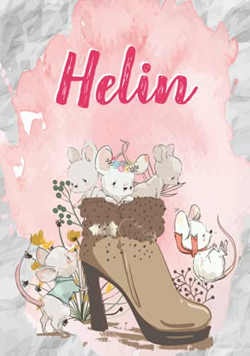 Helin: Notizbuch A5   Personalisierter vorname Helin   Geburtstagsgeschenk für Frau, Mutter, Schwester, Tochter   Niedliche Mäuse im Stiefel   120 Seiten liniert, Kleinformat A5 (14,8 x 21 cm)