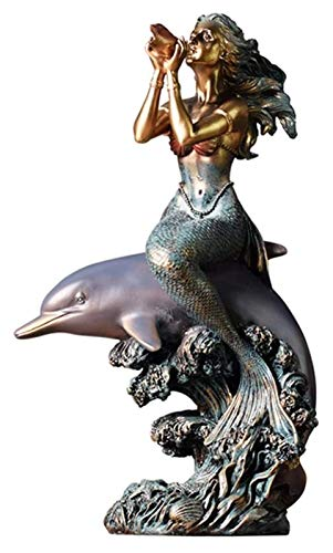 WQQLQX Statue Mermaid Statue, Sitzen Meerjungfrau Statue Schmuck Home Garten Harz Skulptur Dekoration Dekorative Kunst Sammlung Geschenke...