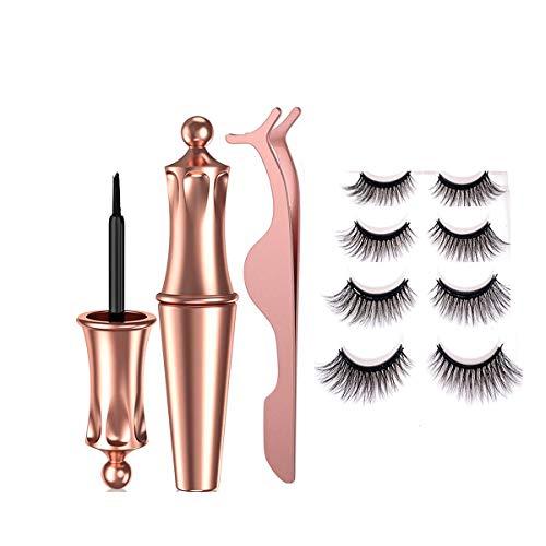 ZRSZ Magnetic Eyelashes Eyeliner Set Imperméable Sans Colle Eyeliner Durable Réutilisable Faux Cils Avec Pince À Épiler [4 Paires]