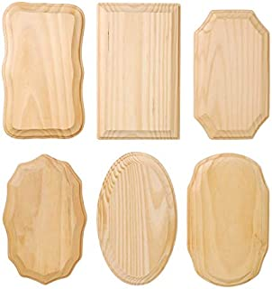 DARICE 9176-25, Style Will Vary, 1 Piece Wood Plaques-6 Pc. Assortment-3.5 x 5.5 inches, One Size, Natural