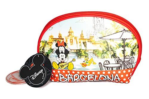 Neceser de Viaje Disney Estuche Escolar Minnie Mouse Diseño Barcelona - Estuches Cosméticos Bolsa de Aseo Pequeña Práctico Estampado Impresión Diseño Barcelona Minnie Mouse - Comic (Vintage)