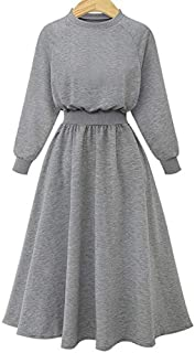 Wwucaihufafa Hot new European and American winter large size women stitching long-sleeved sweater dress (Color : Grey, Size : 4XL)