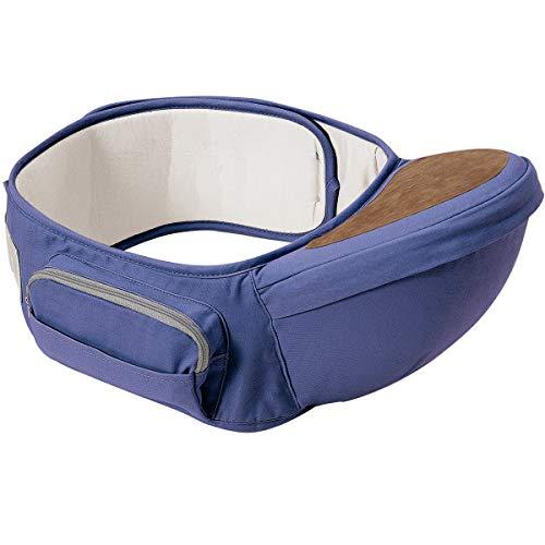 Wemk Asiento de Cadera con Cinturón Ajustable de Longitud Máxima de 49.2 pulgadas/125cm Portabebé Ergonómico Taburete de Cintura de Posición Múltiple por 0-36 Meses Bebé Niños - Azul