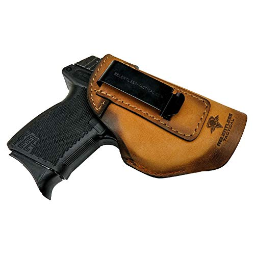 he Defender Leather IWB Holster - Made in USA - Fits Glock 42 & 43 | Sig P365 | Ruger LC9, LC9s | Kahr CM9, MK9, P9 | Springfield Hellcat and More - Charred Oak Right Handed