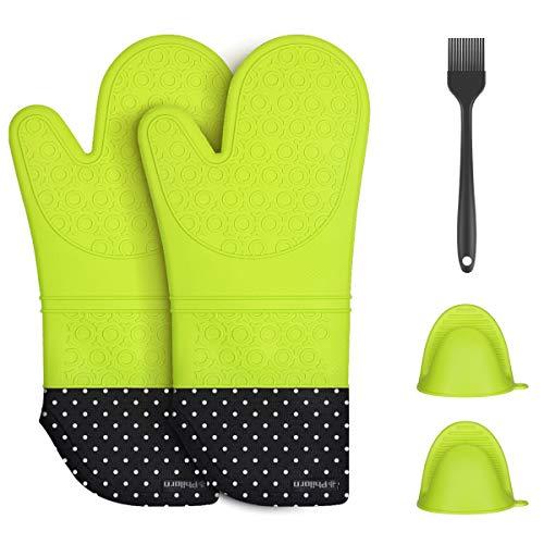 Philorn Ofenhandschuhe, 1 Paar Silikon Backhandschuhe, Extrem Hitzebeständige Handschuh bis zu 240 °, Grillhandschuhe BBQ Handschuhe Kochhandschuhe Backhandschuhe für Backen Schweißen (Neongrün)