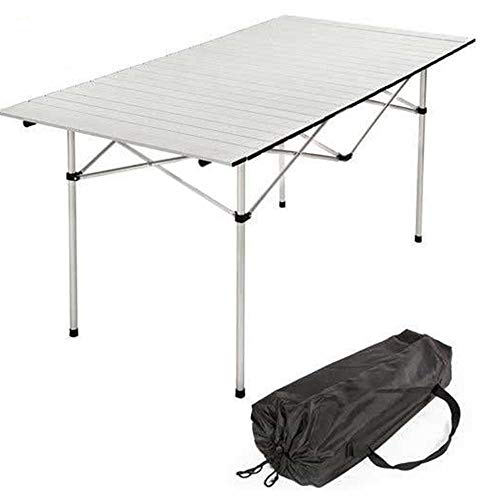 BAKAJI Tavolo Tavolino Camper Campeggio Picnic in Alluminio Pieghevole Top Arrotolabile Salvaspazio e Leggero, Ideale per Sagre Fiere Giardino Casa (140 x 70 cm)
