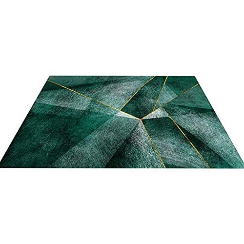 WCCCW Gradiente Verde Color Mosaico Geométrico Patrón de Mosaico Aislamiento térmico Corredor de Interior Sala de Estar Área de sofá Alfombra decorativa-100x200cm Home Alfombra De Salón para Decorac