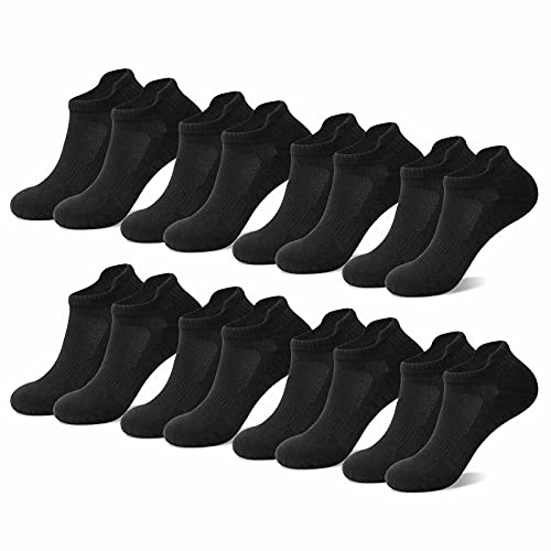 NUOZA 8 Paar Sneaker Socken Herren 43-46 Schwarz Sportsocken Atmungsaktives Baumwolle Rutschfest