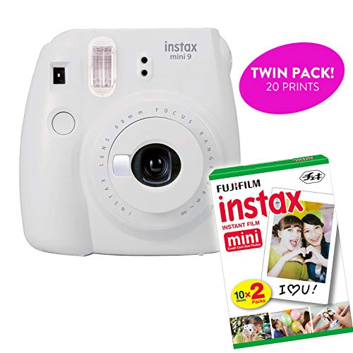 Fujifilm Instax Mini 9 Instant Print Camera(Renewed) Plus Twin Pack Film Starter Bundle | 10 Sheets x 2 = 20 White Frame Instant Exposure Photograph Sheets (Smokey White)