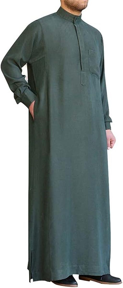 Men's robe V-neck long-sleeved solid color home service retro men's Muslim Arab Islamic gown men's long shirt