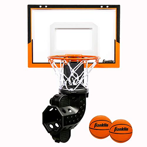Franklin Sports Over The Door Basketball Hoop with Ball Return - Game Room Ready - Shatter Resistant - 2 Mini Basketballs - Accessories Included, Orange/Black