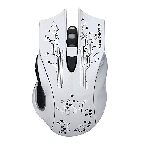 Yowablo USB-Kabel 5500dpi 6 Tasten Optische Gaming-Maus LED 6 Hintergrundbeleuchtung für PC Laptop (Weiß)
