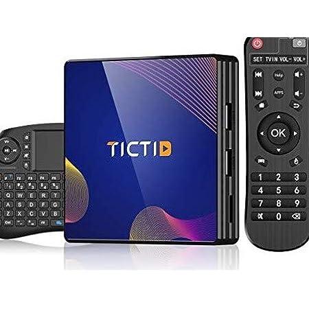Android 9.0 TV Box【4G+64G】con Mini Teclado Inalámbirco con Touchpad RK3318 Quad-Core 64bit Cortex-A53, Wi-Fi-Dual 5G/2.4G,BT 4.1, 4K*2K UHD H.265, USB ...