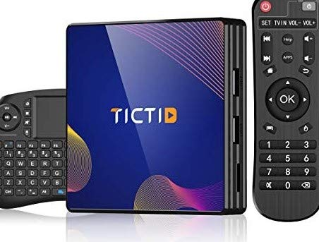 Android TV Box 9.0 TICTID TV Box Android 4G RAM+64G ROM R8 Plus con Wireless Mini Tastiera, RK3318 Quad-Core 64-Bit 10 /100M Ethernet / 2.4G/ WIFI / BT 4.0/ H.265,4K HD Smart TV Box