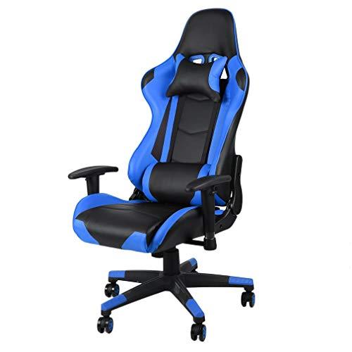 OUTAD Gaming Chair Racing Office Computer Ergonomischer Videospielstuhl Rückenlehne und Sitzhöhe Verstellbarer drehbarer Lehnstuhl mit Kopfstütze und Lendenkissen-Esport-Stuhl (Blue)