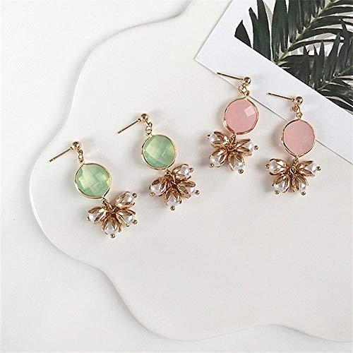 Erin Earring Pendientes De Perlas De Flores Simples Señoras De Moda Pendientes De Perlas De Color Rosa Pálido Pendientes Colgantes Joyas