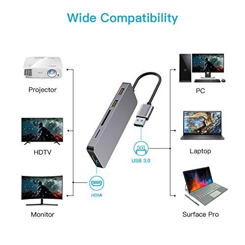 Ofima USB 3.0 Hub, 5 IN 1 USB Adapter, USB 3.0 zu HDMI 2K HD, USB 2.0, SD/Micro SD Kartenleser, USB 3.0 Hub für Windows Laptops, Nur Windows 7/8/8.1/10, KEIN Mac & Windows Vista (Spacegrau)